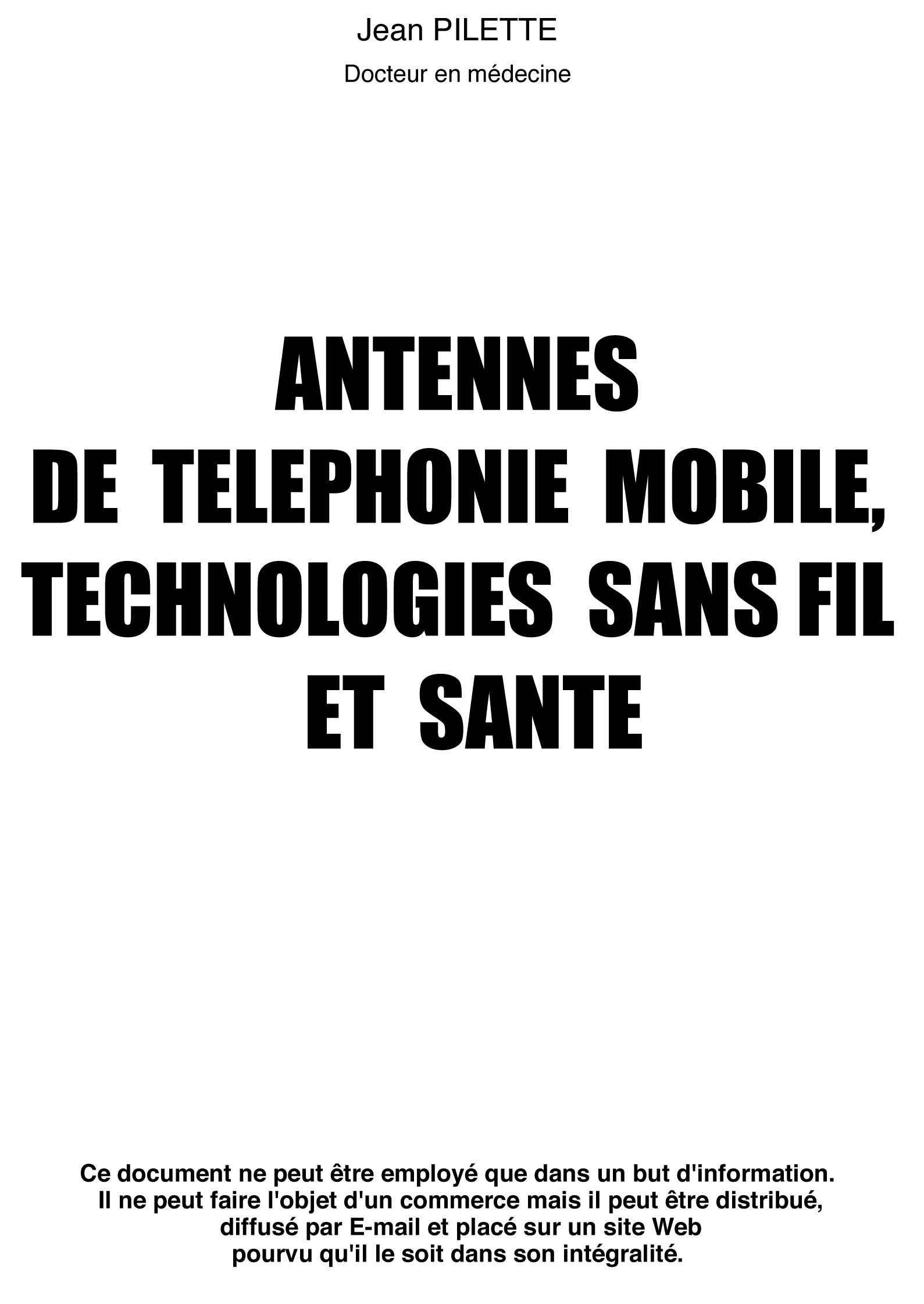 ANTENNES DE TELEPHONIE MOBILE - TECHNOLOGIES SANS FIL ET SANTE